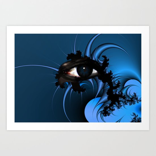 Blue Fractal Eye 2 Art Print