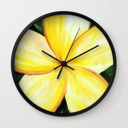 Aloha; White Plumeria Wall Clock