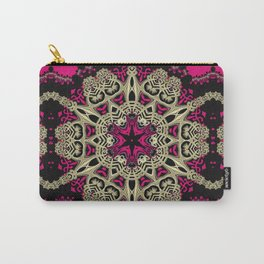 Hot Pink  + Hexagon Gold Star Carry-All Pouch