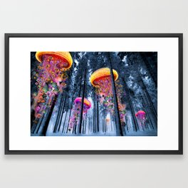 Winter Forest of Electric Jellyfish Worlds Framed Art Print