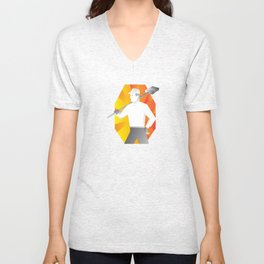 cleaner with broom looking to side retro Unisex V-Neck