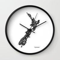 new zealand Wall Clocks featuring New Zealand by fortyonehundred