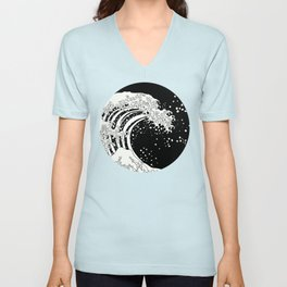 Black and White Great Wave Unisex V-Neck