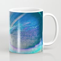 peacock Mugs featuring Peacock by Marianne LoMonaco