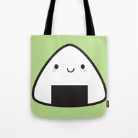 nori Tote Bags featuring Kawaii Onigiri Rice Ball by Marceline Smith
