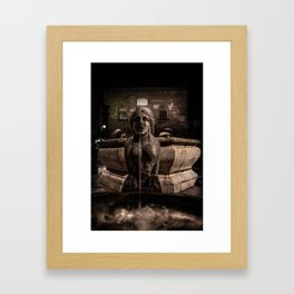 Night image of the fountain detail of Piazza Vecchia. Framed Art Print