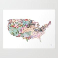 USA map flowers Art Print