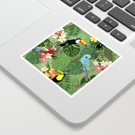 Parrots and Toucan Tropical Birds Tropical Forest Pattern Sticker
