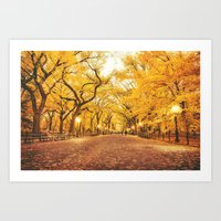 new york city Art Prints featuring New York City Autumn by Vivienne Gucwa