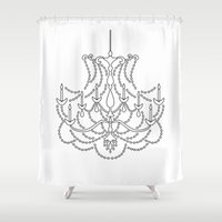 chandelier Shower Curtains featuring Chandelier Illustration Print by MiuAndMe