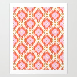Orange Boho Ikat Pattern Art Print