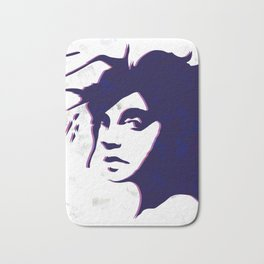 street art style girl in blue and pink on marble pattern Bath Mat