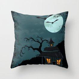 Halloween Spooky Scary House Moon Bats Tree Night Throw Pillow