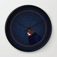falcon Wall Clocks featuring Falcon by Urška Hočevar