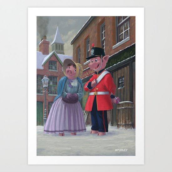 Victorian pigs on a romantic date in snowy street Art Print