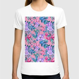 Pastel pink violet hand painted watercolor roses floral T-shirt