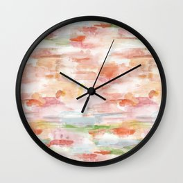 Rainbow watercolor patches Wall Clock