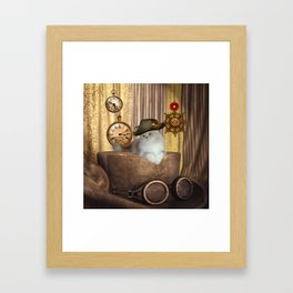 Steampunk, beautiful cat with steampunk hat Framed Art Print