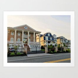 Beach houses on road | Cape Henlopen, DE Art Print