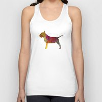 bull terrier Tank Tops featuring Bull Terrier in watercolor by Paulrommer