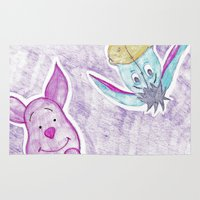 piglet Area & Throw Rugs featuring eeyore and piglet by Art_By_Sarah