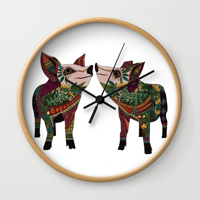 pig love white Wall Clock