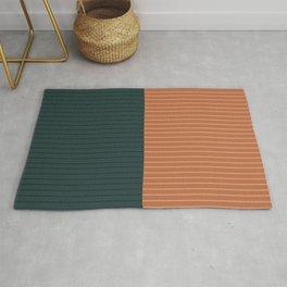 Color Block Lines XIX Orange & Green Rug