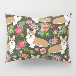Corgi Hawaiian Print Tropical hibiscus flower cute corgi dog pattern Pillow Sham