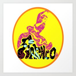 Flamenco Floral Dancer and Word Art Print