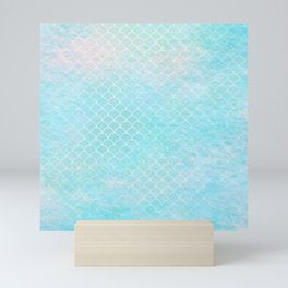 Limpet blue small scallops with paper texture Mini Art Print