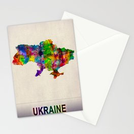 Ukraine Map in Watercolor Stationery Cards