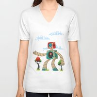 woody V-neck T-shirts featuring Woody Mecha by Teodoru Badiu