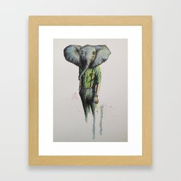 Elephant in Casual Wear Framed Art Print