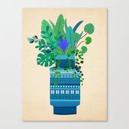 Big Bitossi vase with greenery Canvas Print