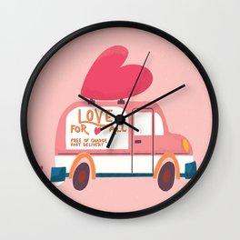 Love Truck, Happy Valentine's Day 2 Wall Clock
