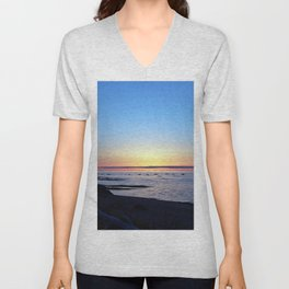 Sun Sets up the River, Across the Sea Unisex V-Neck