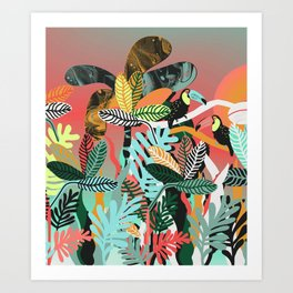 Sunset in the jungle Art Print