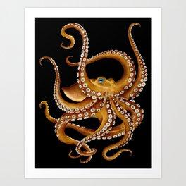 Brown Octopus Blue Eye Black Watercolor Art Print