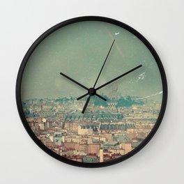 City view of Paris with Sacre Couer, Vintage Design Wall Clock