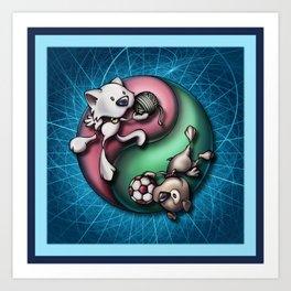 """Like cats and dogs"" - Yin Yang Art Print"