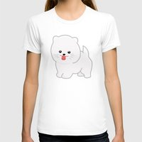 pomeranian T-shirts featuring White Pomeranian by Pati Designs