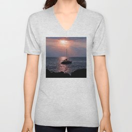 Tropical Sailboat In Pink Coral and Azure Sunset Unisex V-Neck