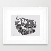 t rex Framed Art Prints featuring T-rex by Surfing Shaman
