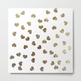 Glamorous Faux Gold Hearts Pattern Metal Print