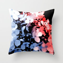 Red and blue effects on hydrangea Throw Pillow