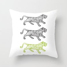 Three Tigers Throw Pillow