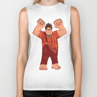 wreck it ralph Biker Tanks featuring I'm Gonna Wreck It! by shaunaoconnor