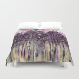NORTHWEST VIBES Colorful Watercolor Painting Forest Trees Violet Green Modern Nature Art West Coast  Duvet Cover