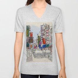CHINATOWN, Manhattan Sketch, Colorful handmade drawing of New York Unisex V-Neck