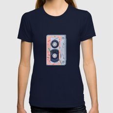 Time Travel Tape Womens Fitted Tee X-LARGE Navy